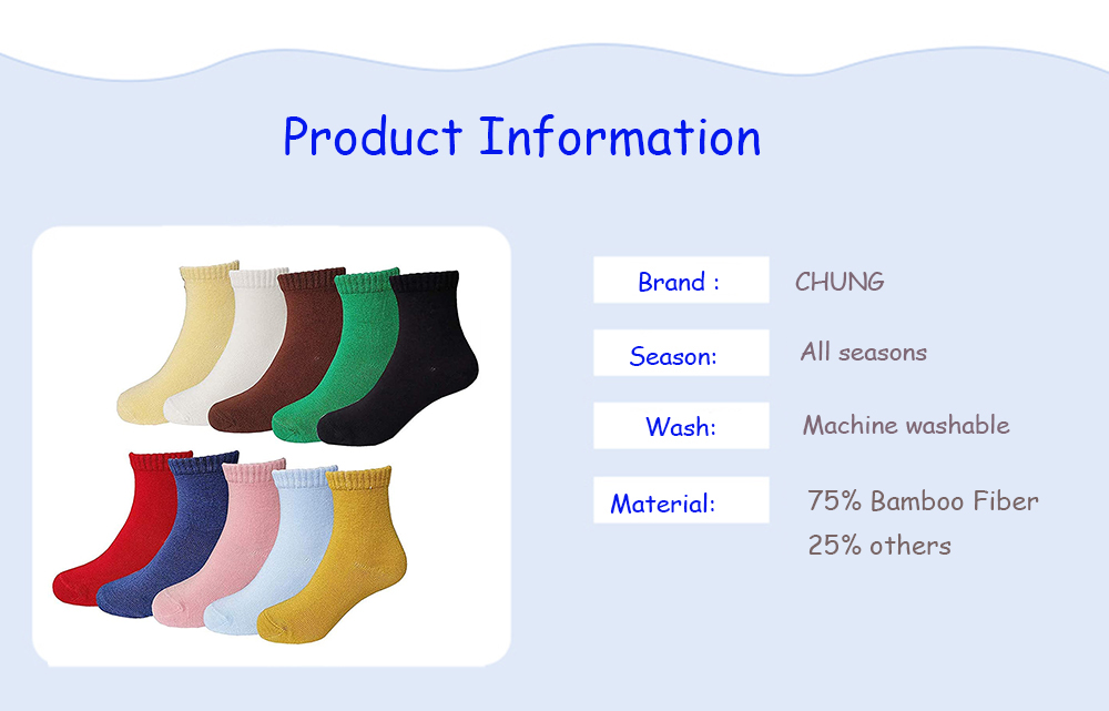 CHUNG Toddler Little Big Girls Sock 10 Pack Candy Color Soft Bamboo Fiber Ankle Crew Casual Cotton Socks Autumn School