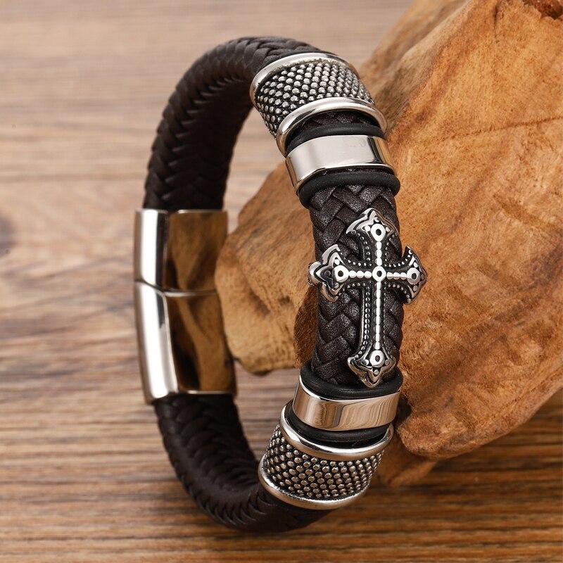 Bracelets croisés en acier inoxydable pour hommes, Bracelet Chakra en cuir noir/Brwon tressé multicouche, à la mode, vente en gros 3