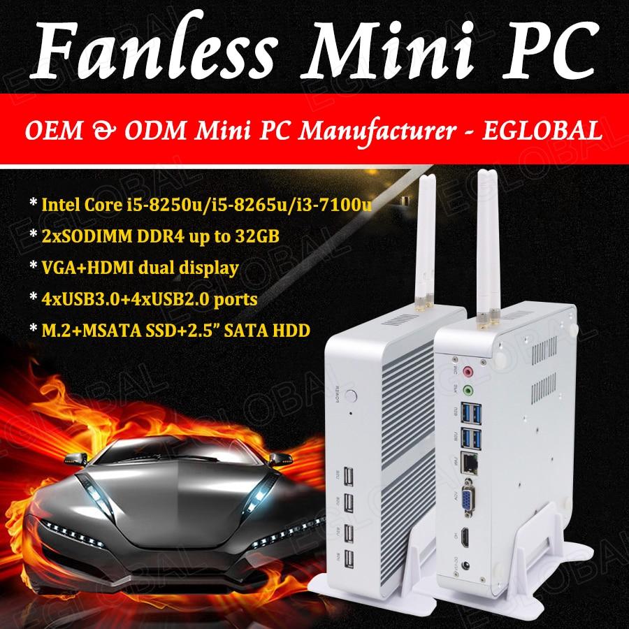 8th Gen Intel Core I5 8250U Fanless Mini PC Barebone System Mini Computer 4K VGA HDMI 8*USB Thin PC Wifi