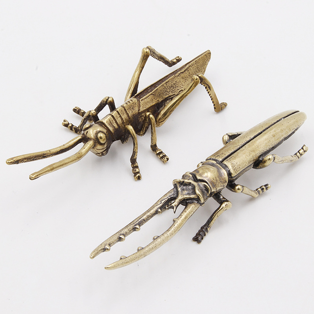 Antique Bronze 6 Styles Beetles Miniature Figurines Desktop Decorations Pure Brass Insect Tea Pets Ornament Home Decor Accessory 2