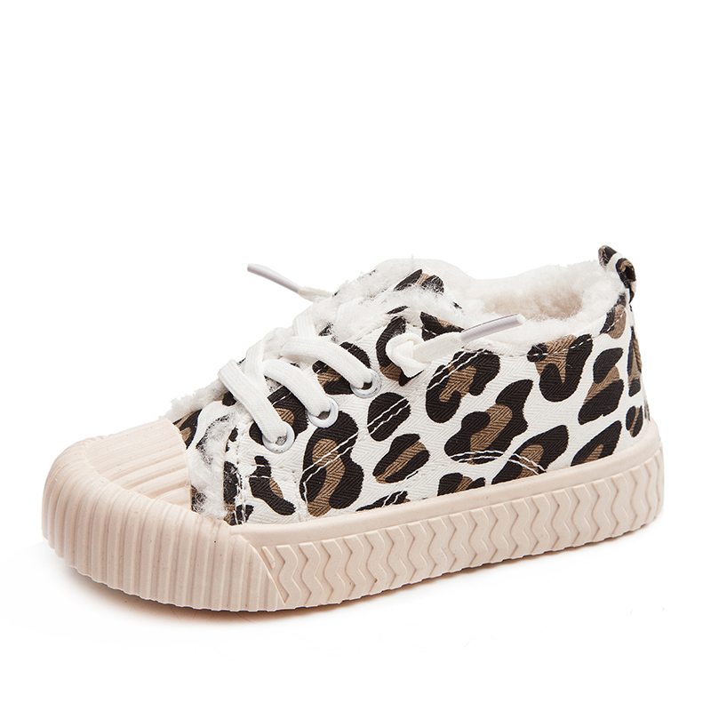 Kids Shoes Boys Sneakers Winter Thicken Plush Warm Fashion Leopard Print Girls Sport Shoes Children Girls Casual Shoes SSJ056