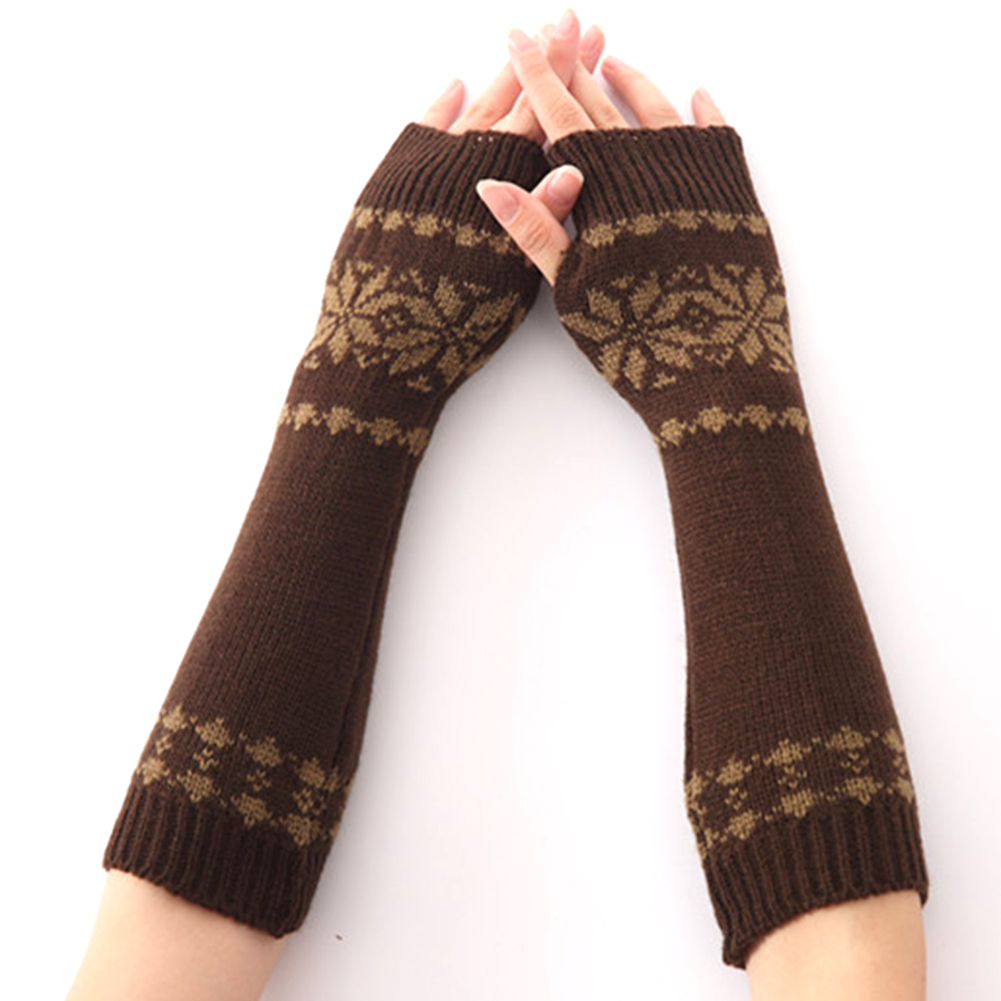 Knit Fingerless Long Snow Pattern Warm For Women Arm Girls Gift Winter Gloves