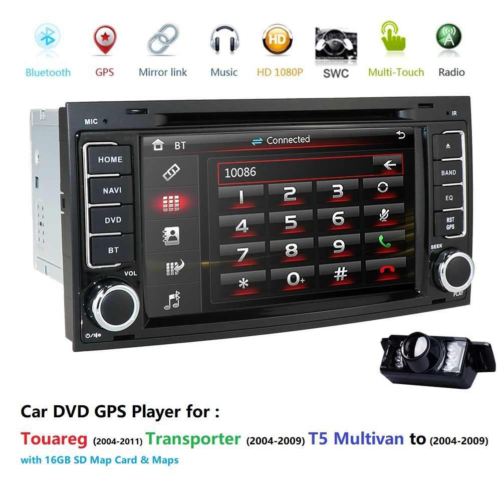 ひるみラジオステレオフォルクスワーゲン T5 トゥアレグ 2004-2009 車の DVD GPS プレーヤー VW トゥアレグ T5 マルチバン SWC RDS DVBT BT カメラ DAB +