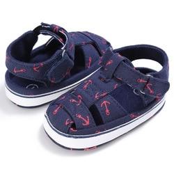 2019 Baby Schuhe Für Newborn Print Anker Muster Infant Kleinkind Weiche Sohle Schuhe Leinwand Sokken 2019 Neue Ankunft Erste Walker für 0-18M