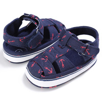 2019 Baby Shoes For Newborn Print Anchor Pattern Infant Toddler Soft Sole Shoes Canvas Sokken 2019 New Arrival First Walker For 0 18M