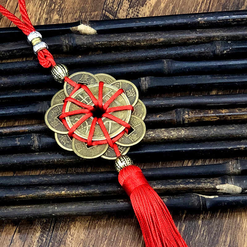 Vente chaude cuivre pièces chinois noeud pendentif voiture pendentif sûr voyage cuivre pièces chaîne prune chaîne cuivre fil pendentif en gros