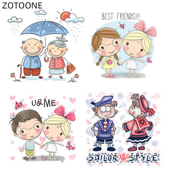 ZOTOONE Iron on Transfer Lovely Patches for Clothes DIY Cartoon Boys Girls Applique Letter Heart Patch for Kids Vinyl Stickers H image