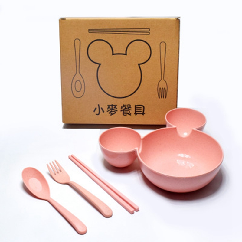 1Set Baby Dinner Plate Bear Dishes Food Grade Fork Cup Chicken Food Supplement Drop-resistant Children's Feeding Plate Tableware