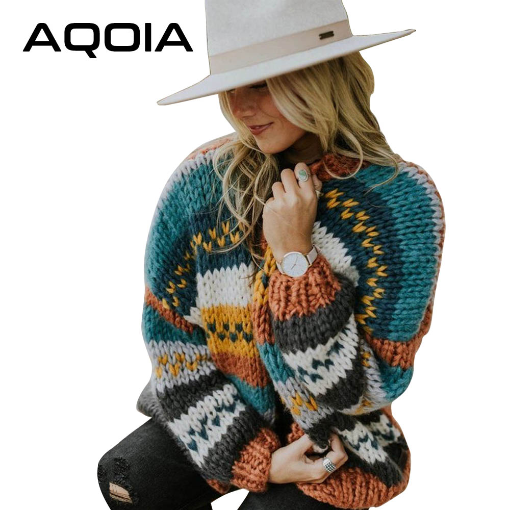 AQOIA BOHO Plus Size Women Sweater V-neck Long Sleeve Stripe Ladies Sweaters Cardigan Knitted Loose 2019 Winter Autumn Clothing