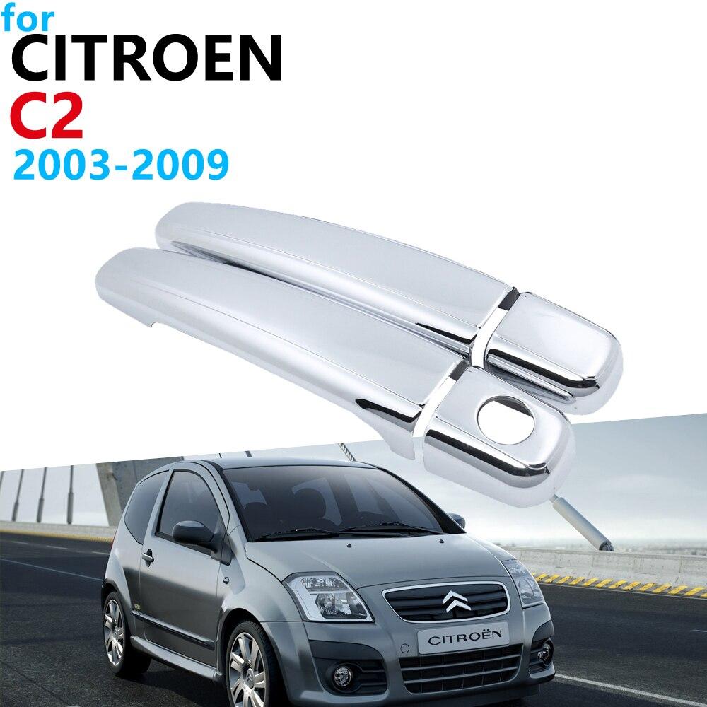 Luxurious Chrome Exterior Handle Cover Trim Set for Citroen C2 2003 2009 Accessories Car Stickers 2008 2007 2006 2005 2004