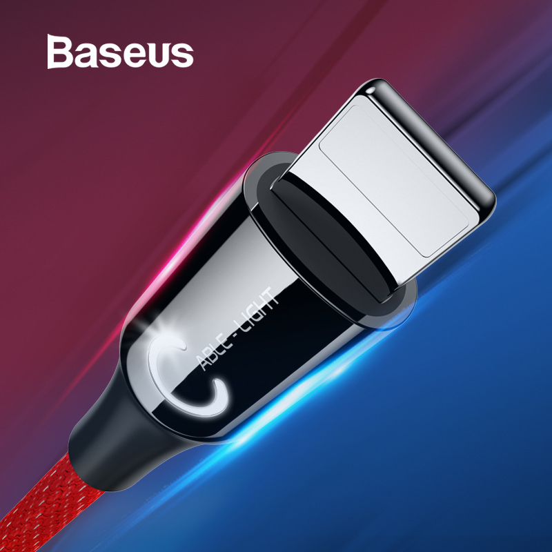 Baseus USB Cable for iPhone XR Xs Max 2.4A Smart Power Off Fast Charge Cable for iPhone X 8 7 6s 6Plus Nylon LED USB Data Cord-in Mobile Phone Cables from Cellphones & Telecommunications on AliExpress