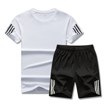 New sports suit men's running gym summer two piece quick drying clothes ice thin Casual Short Sleeve shorts - discount item  14% OFF Men's Sets