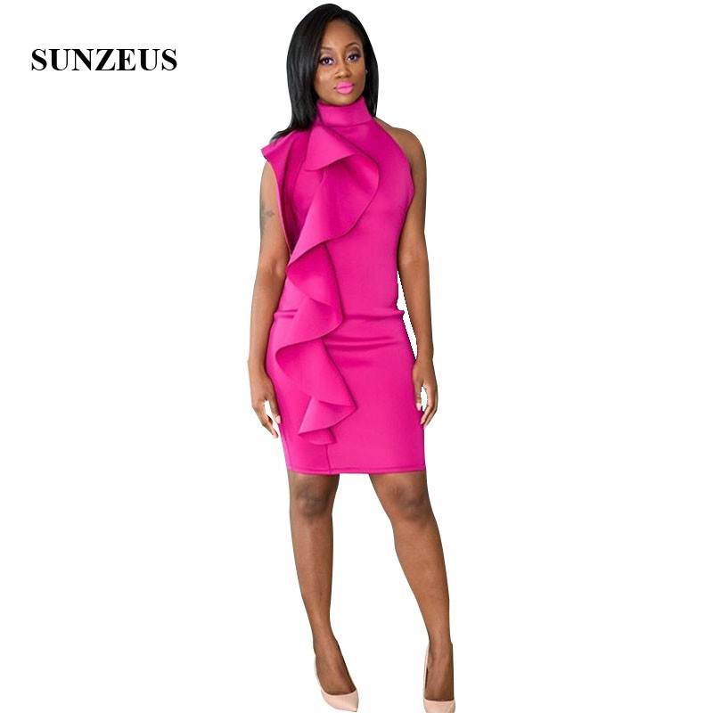 Sheath Short   Cocktail     Dresses   Sexy Open Back Party Gown With Ruffles High Neck African Women Above Knee   Dress   Prom Gala