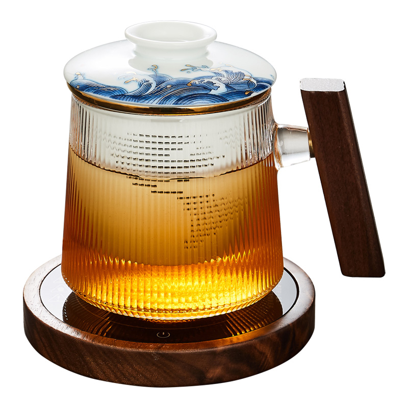 Simple design home office tea glass cup with wooden handle and Ceramic Tea Infuser Filter Gift for tea lover 210401-03