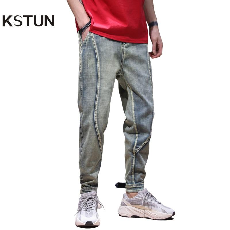 KSTUN Mens Jeans 2020 New Arrivals Retro Blue Elastic Waist Drawstring Baggy Legs Jogger Jeans Man Casaul Denim Pants Streetwear