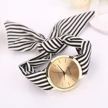 Relojes de tela para mujer, relojes de cuarzo para mujer, relojes de pulsera con esfera de cuarzo y tela Floral a rayas para mujer, reloj de pulsera 2019 #30