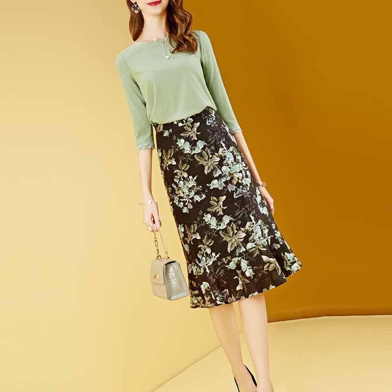 WOMEN'S Half-sleeve Shirt Flounced Floral-Print Skirt Western Style Two Pieces Dress Outfit Women's 2019 Autumn Clothing New Sty