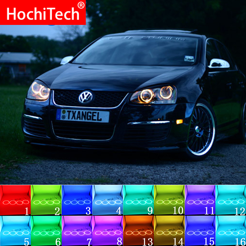Multi-color RGB <font><b>LED</b></font> Angel Eyes Halo Ring Eye DRL RF Remote For VOLKSWAGEN <font><b>VW</b></font> <font><b>Golf</b></font> 5 Rabbit Jetta R32 V <font><b>Mk5</b></font> 2004-2009 Accessories image