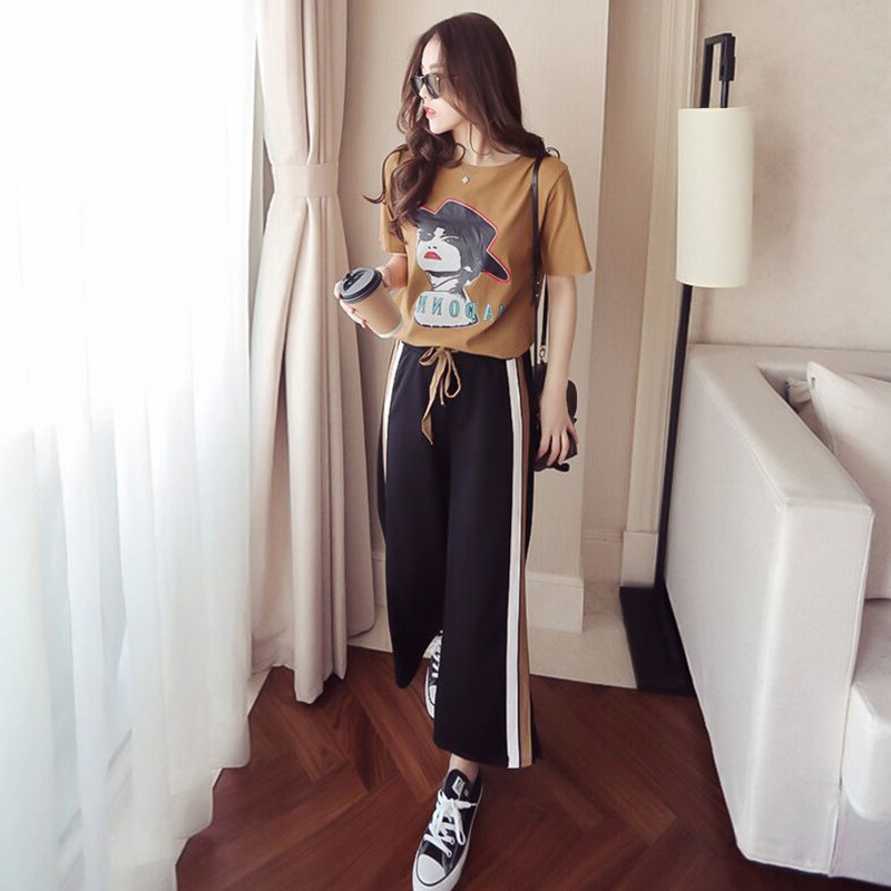 2019 Summer Large Size Fashion & Sports WOMEN'S Suit Two-Piece Set Harajuku-Style College Style Students Best Friend Sisters Out