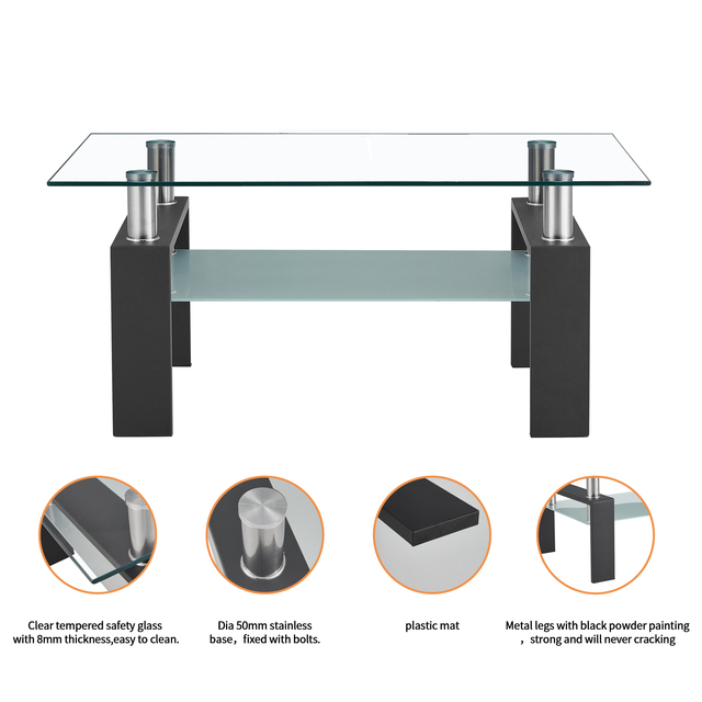 Living Room Furniture Double Layer  Rectangle Glass Coffee Table Clear Home Furniture Side Table Coffee Table For Living Room 3