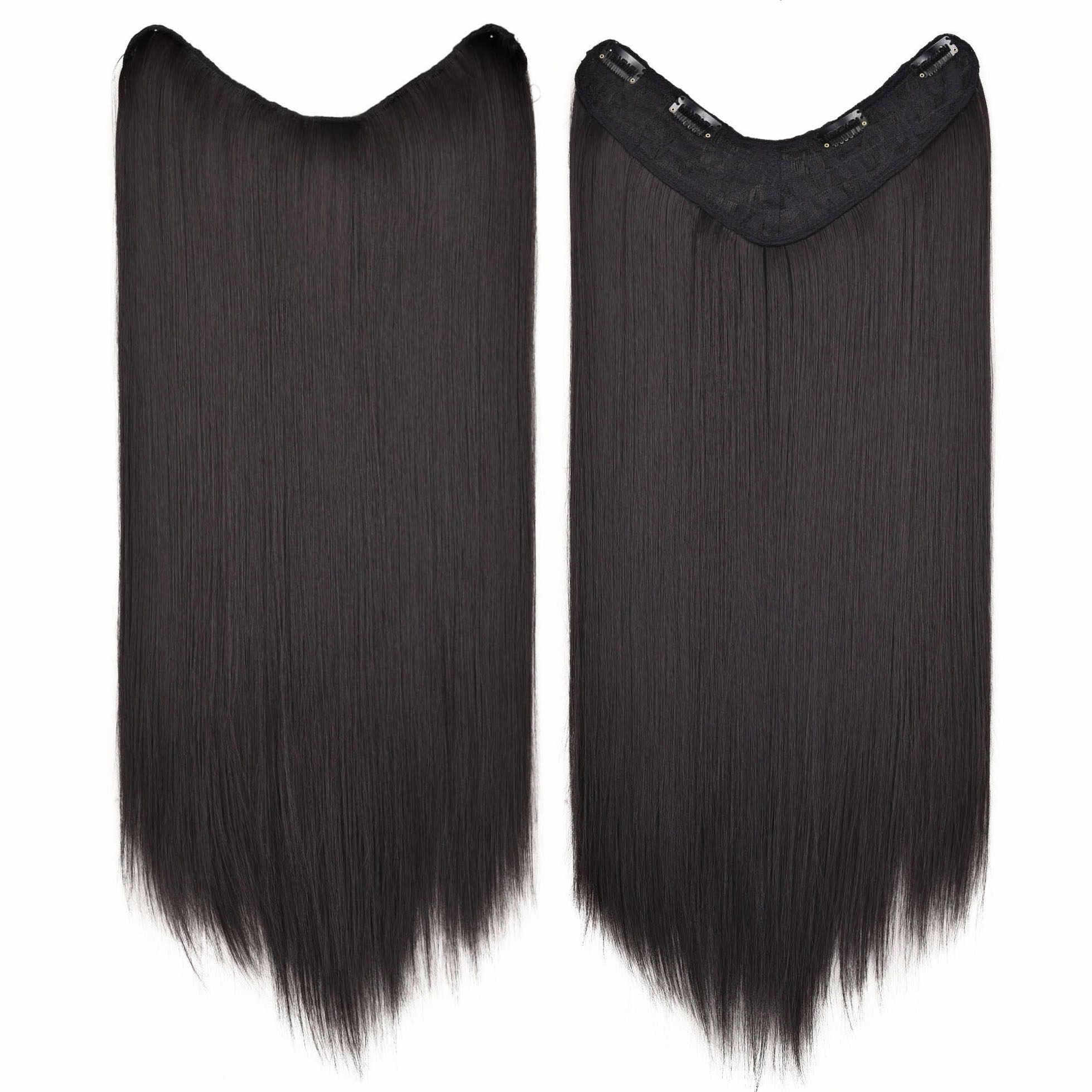 BEIYUFEI 24 ''długie proste syntetyczne w kształcie litery U do włosów peruka dla kobiet Ombre w kształcie litery U części włosy doczepiane clip in niebieski czarny treski