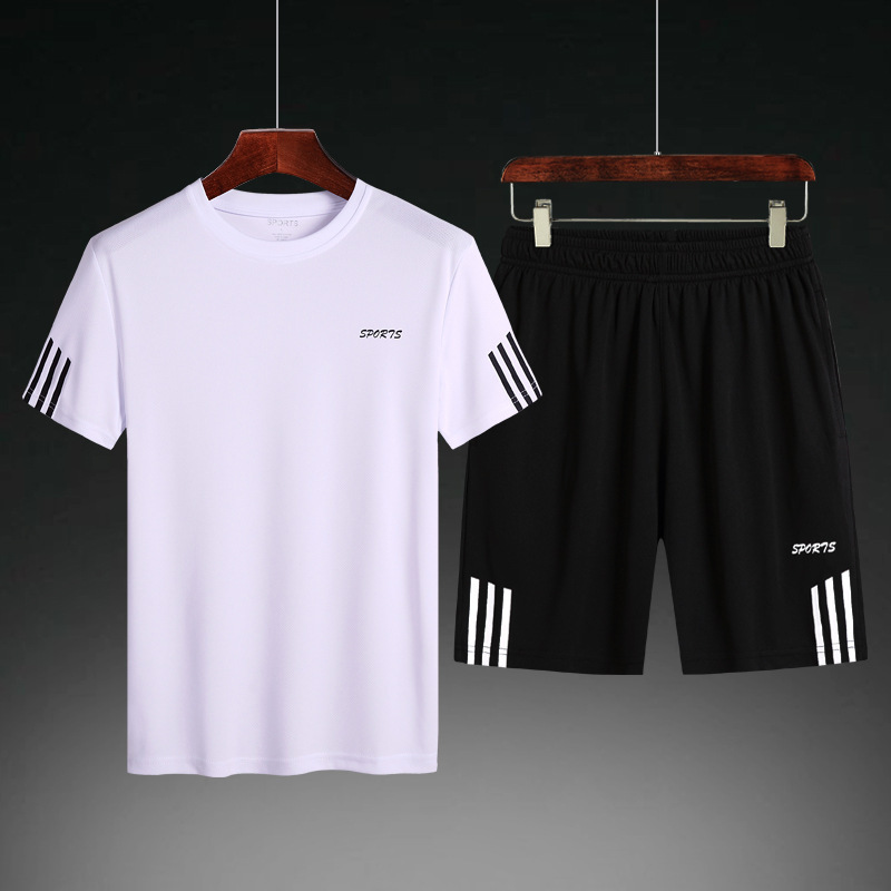 Summer Short Sleeve T-shirt Suit Men's Quick-Dry Sports Two-Piece Set Fat Plus-sized Casual Shorts A Set Of Fashion
