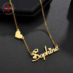 Goxijite Custom Name Necklace For Women Stainless Steel Personalized Love Heart Letter Choker Chain Necklace Best Gift
