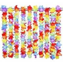 100 шт./лот, Гавайские вечерние гирлянды с цветами leis, Гавайские ожерелья, цветочные украшения для дома torpil hawai