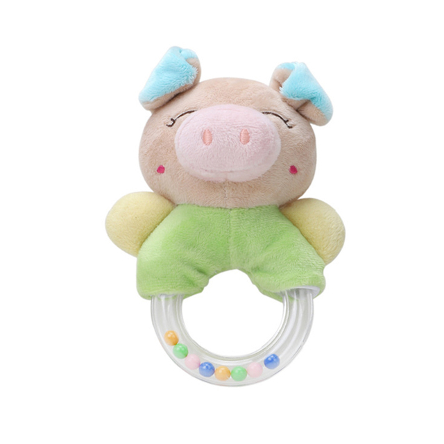 1pc Baby Rattle Toys Cartoon Animal Plush Hand Bell Soft Rattles Infant Developmental Hand Grip Cute Stuffed Animal Toys
