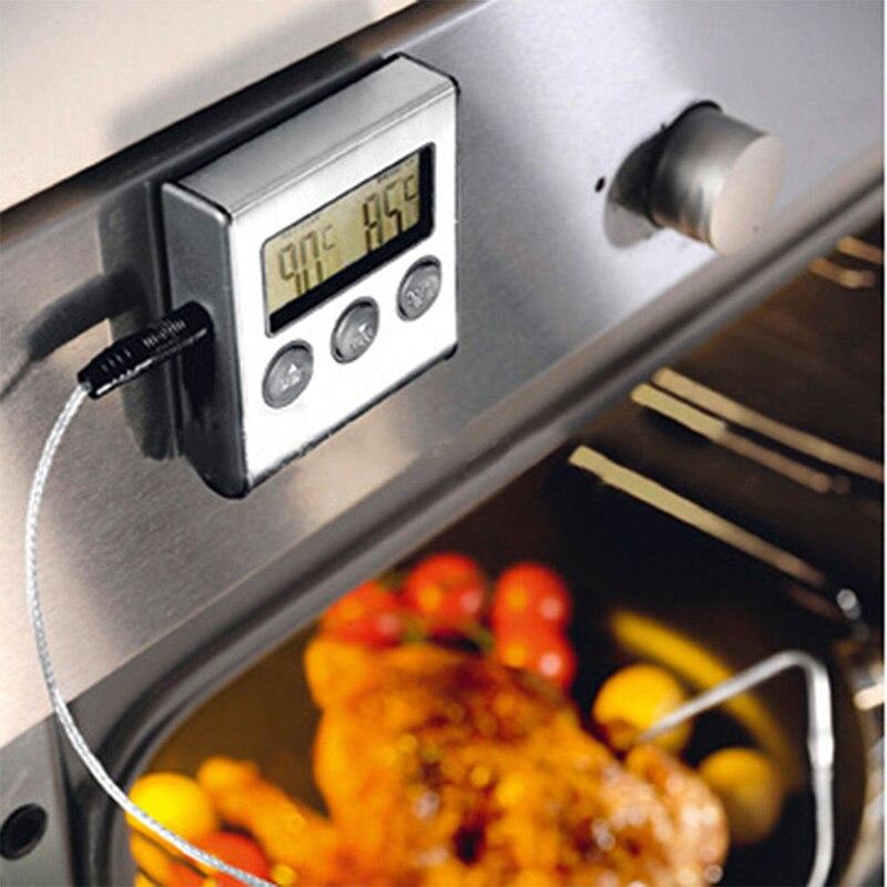 Цифровой термометр для духовки цифровой ЖК-дисплей Дисплей зондовый пищевой термометр Таймер Пособия по кулинарии Кухня барбекю мясо