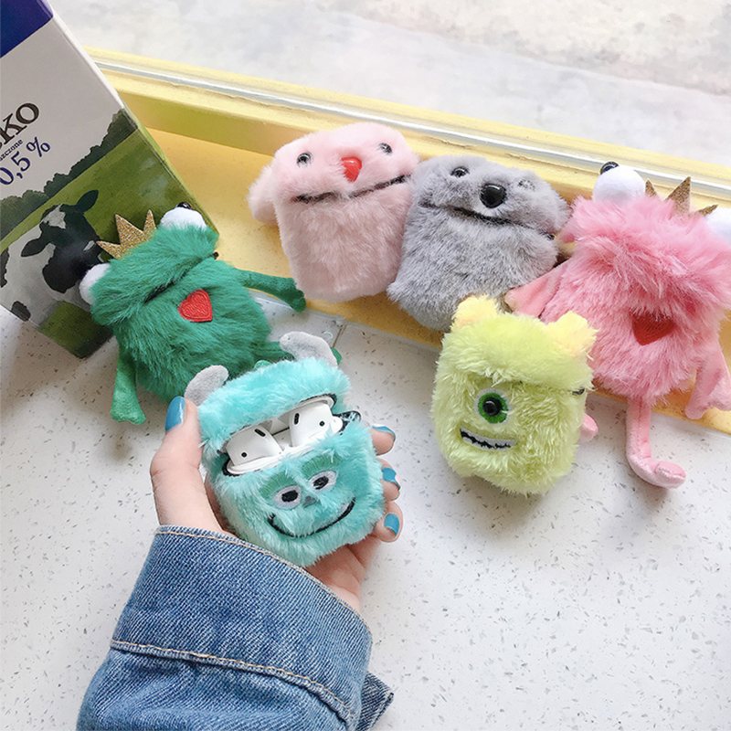 3D Cute Warm Hands Plush Embroidered Big Eyes Bluetooth Wireless Earphone Case For Apple AirPods For AirPods 1 2 Cover