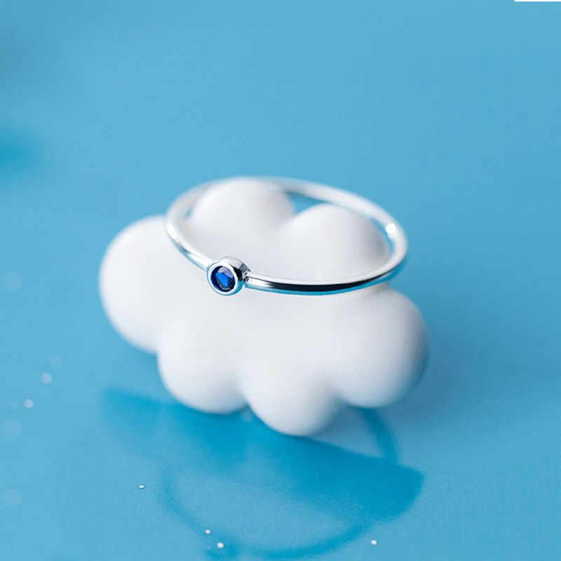INZATT ريال 925 فضة الأزرق الزركون حلقة مستديرة للأزياء النساء لطيف غرامة مجوهرات 2019 الحد الأدنى اكسسوارات هدية