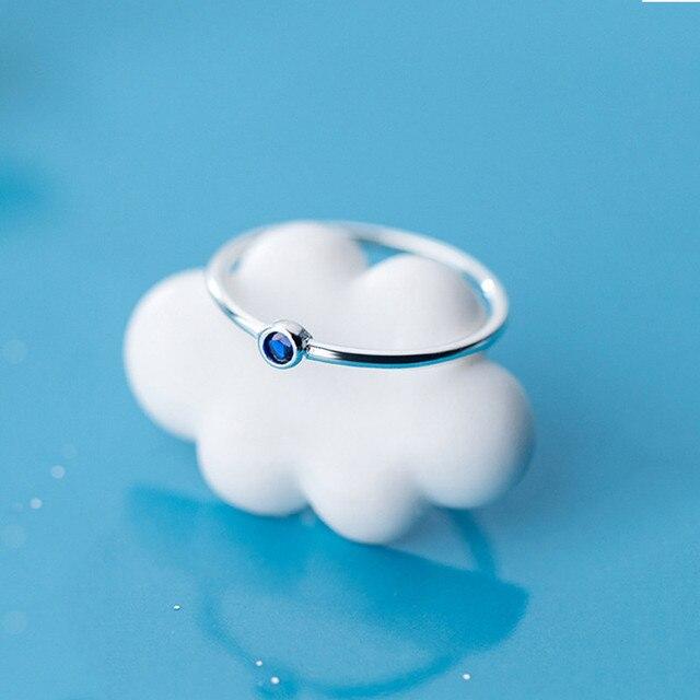 INZATT Real 925 Sterling Silver Blue Zircon Round Ring For Fashion Women Cute Fine Jewelry 2019 Minimalist Accessories Gift 4