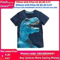 Buy3get5% 2-8Years 4 Estilos Dinossauros Impressão Meninos Do Bebê T Camisa de Verão novas Crianças Crianças Boy's Shorts Manga Roupas Meninos Tops Tees