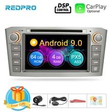"7 ""IPS 4G RAM Android 9,0 navegación GPS con DVD para coche reproductor para Toyota Avensis/T25 2003 2008 WIFI FM Video Radio Multimedia ESTÉREO"