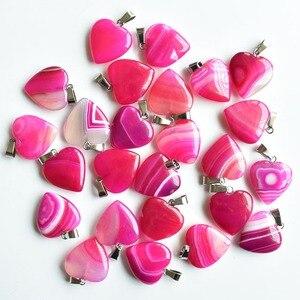Atacado 36 pçs/lote moda de boa qualidade rosa vermelha listra onyx coração forma encantos pingentes para fazer jóias 20mm frete grátis