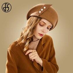 Женская фетровая шляпка FS, элегантная фетровая Шляпка из 100% шерсти, черного и верблюжьего цвета, на зиму, 2019