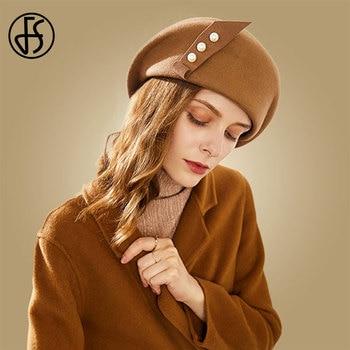 цена на FS Women Hat Elegant Winter 100% Wool Felt Fedora Black Camel Ladies Hats For Wedding Fascinators Pearls Berets Caps Pillbox Hat
