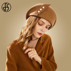 FS chapeau en laine pour femmes   Chapeau élégant en feutre de laine, Fedora noir Camel dames chapeaux pour mariage, Fascinators perles bérets chapeaux de pilulier, chapeau collection hiver 100%