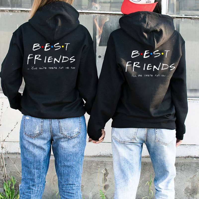 Women Sisters Hoodies Best Friends Pullovers Tops Letter Printed Hooded Girl Friends Sweatshirt
