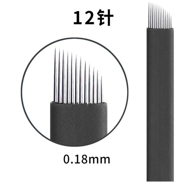 0.18mm 7 9 11 12 14 U shape Permanent Makeup Eyebrow flex Tattoo Needles Blade For 3D Microblading lamina blade  Agulhas Tebori 1
