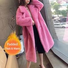 Bella philosophy, Женское зимнее теплое длинное пальто из искусственного меха с длинным рукавом, женское толстое пальто с мишкой Тедди, Повседневная Свободная верхняя одежда