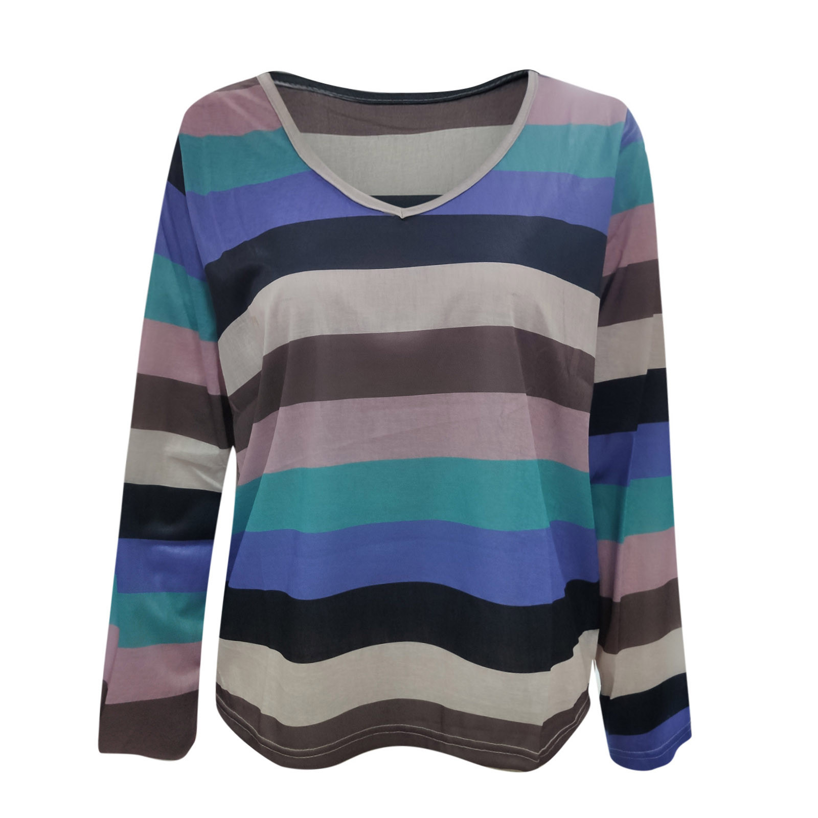 Fashion Rainbow Stripe Blouse For Women Autumn 2021 Multicolor V-neck Long Sleeve Female Blouse Tops Casual Loose Blusas Блузки