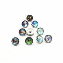 Wholesale 20pcs/lot 12mm Glass cartoon Snap Buttons Fit DIY Bracelet Button Charms Jewelry