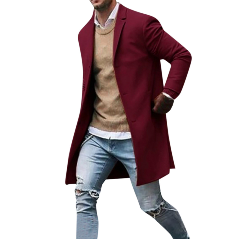 Men's Overcoat Fashion Autumn Winter Button Slim Long Sleeve Suit Jacket Trench Coat Casual high quality Mens Tops Blouse 020New 25