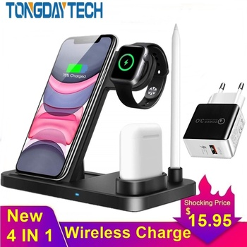 Tongdaytech 15W Qi Fast Wireless Charger For Iphone 8 Plus XR XS 11 Pro Max Carregador Sem Fio For Apple Airpods Watch 5 4 3 2 1