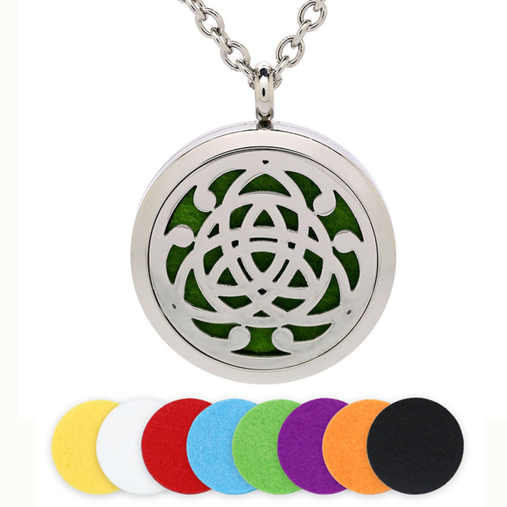 BOFEE Aromatherapy Locket Pendant Necklace Perfume Aroma Diffuser Freshener Stainless Steel Essential Oil Fashion Jewelry Gift