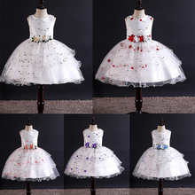 Skyyue Girl Pageant Dress Appliquie Embroidery Flower Tulle Flower Girl's Dresses for Wedding O-neck Communion Gowns 2019 2009 skyyue girl pageant dress lace ruffles crystal tulle flower girl s dresses for wedding o neck bow communion gowns 2019 736