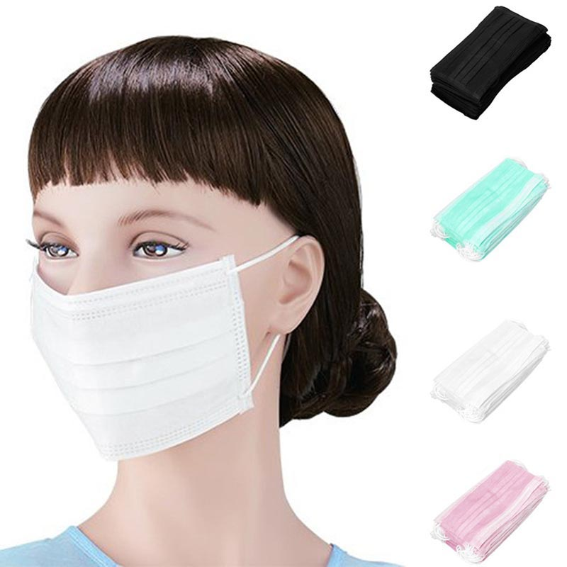 50pcs Disposable Earloop Face Mouth Masks 3 Layers Anti-Dust For Surgical Medical Salon FEA889