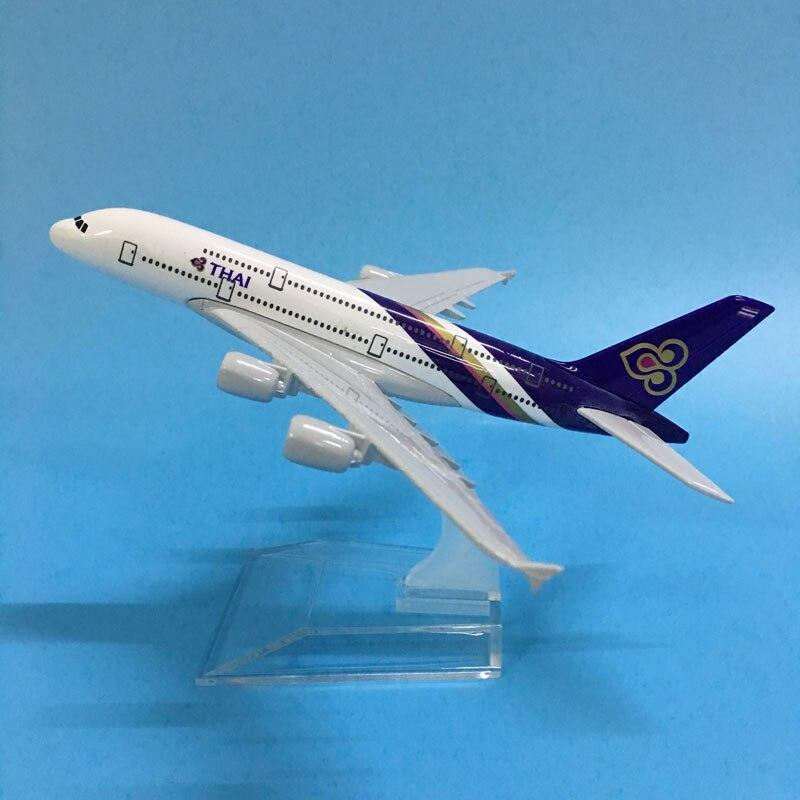 JASON TUTU 16cm Thai Airways Plane Model Airplane Model Airbus A380 Aircraft Model Diecast Metal Airplanes 1:400 Plane Toy Gift